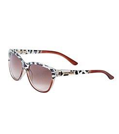Steve Madden Plastic Oval Retro Animal Print Sunglasses