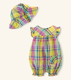 Chaps® Baby Girls' Bubble Shortalls With Hat