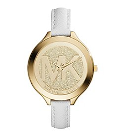 Michael Kors® Women's Goldtone Slim Runway Logo Watch with White Saffiano Leather Strap
