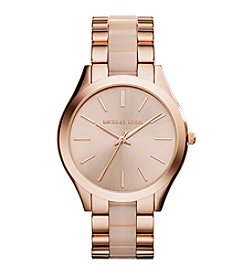 Michael Kors® Women's Rose Goldtone Slim Runway Watch with Blush Acetate Center Links