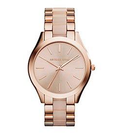 Michael Kors® Women's Rose Goldtone Slim Runway Watch with Blush Acetate Center Links