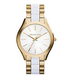 Michael Kors® Women's Goldtone Slim Runway Watch with White Acetate Center Links