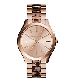 Michael Kors® Women's Rose Goldtone Slim Runway Watch with Blush Tortoise Acetate