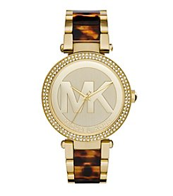 Michael Kors® Women's Goldtone Parker Logo Watch with Tortoise Acetate