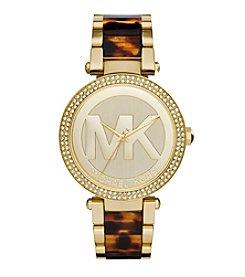Michael Kors® Women's Goldtone Parker Logo Watch with Tortoise Acetate