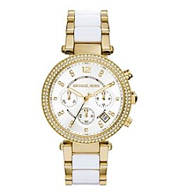 Michael Kors® Women's Goldtone Parker Watch with White Acetate