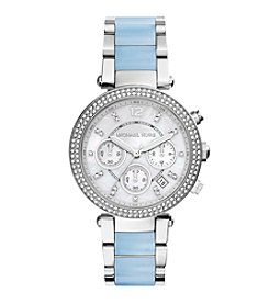 Michael Kors® Women's Silvertone Stainless Steel Parker Watch with Chambray Center Links