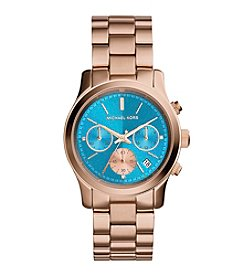 Michael Kors® Women's Rose Goldtone Watch with Turquoise Dial