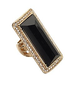 Guess Goldtone Jet Crystal Stretch Ring