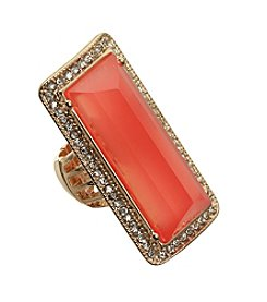Guess Goldtone Coral Crystal Stretch Ring