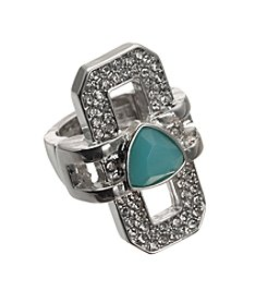 Guess Silvertone Crystal Turquoise Stretch Ring