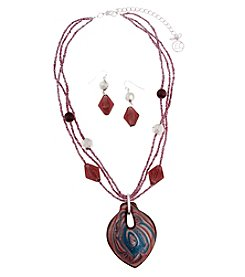 Erica Lyons® Silvertone Artisan Glass Spade Pendant Necklace and Earrings Boxed Set