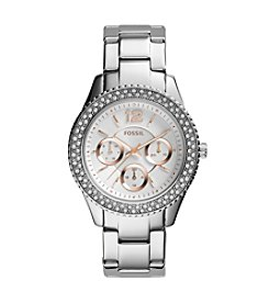 Fossil® Womens Stella Watch in Silvertone with Rose Goldtone Accent Dial