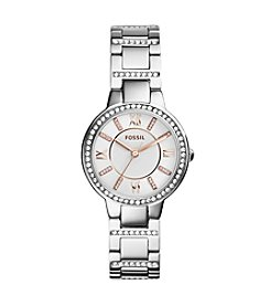 Fossil® Womens Virginia Watch in Silvertone with Rose Goldtone Accent Dial