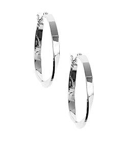 Nine West® Silvertone Large Twisted Secure Click-Top Hoop Earrings