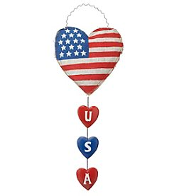 LivingQuarters Americana USA Heart Wall Plaque