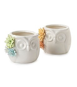 LivingQuarters Ceramic Owl Flower Pot