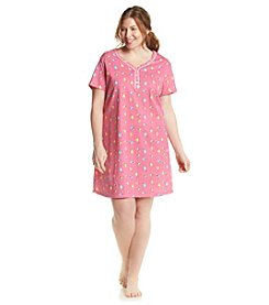 Intimate Essentials® Plus Size Pink Drinks Henley Sleepshirt