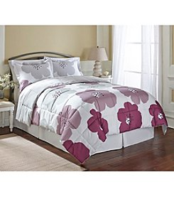 LivingQuarters Reversible Microfiber Down-Alternative Evie Purple Comforter