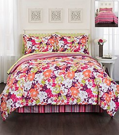 LivingQuarters Floral Stripe 8-pc. Comforter Set