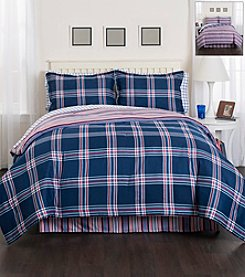 LivingQuarters Navy Plaid 8-pc. Comforter Set
