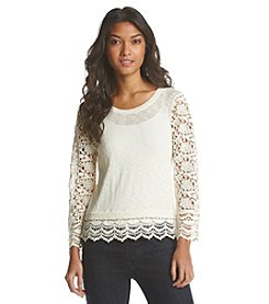 Kensie® Crochet Lace Sweater