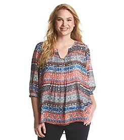 Eyeshadow® Plus Size Batik Peasant Top