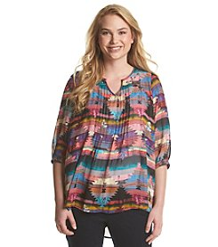 Eyeshadow Geo Print Peasant Top