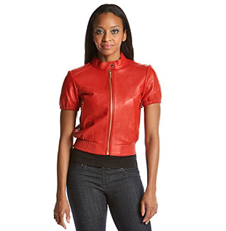 MICHAEL Michael Kors® Short Sleeve Leather Jacket