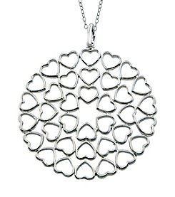 Designs by FMC Sterling Silver Round Open Hearts Pendant Necklace