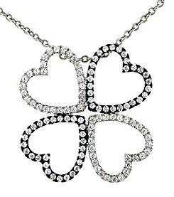 Designs by FMC Sterling Silver Black and Clear Cubic Zirconia 4 Heart Necklace