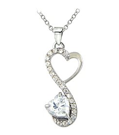 Designs by FMC Sterling Silver Heart with Cubic Zirconia Necklace