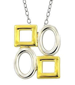 Designs by FMC Sterling Silver and Gold Plated Alternating 4 Shape Necklace