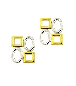 Designs by FMC Sterling Silver and Gold Plated Alternating 4 Shape Post Earrings