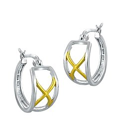 Designs by FMC Sterling Silver and Gold Plated Two-Tone X Hoop Earrings