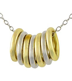 Designs by FMC Sterling Silver and Gold Plated Alternating Sliding Rings Necklace