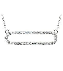 Designs by FMC Sterling Silver and Cubic Zirconia Open Shape Necklace