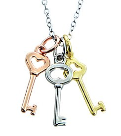 Designs by FMC Tri-Color Sterling Silver Keys Pendant Necklace
