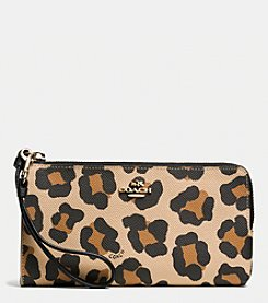 COACH ZIPPY WALLET IN OCELOT PRINT CROSSGRAIN LEATHER