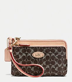 COACH DOUBLE CORNER ZIP WRISTLET IN EMBOSSED SIGNATURE CANVAS