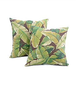 Greendale Home Fashions Set of Two Palm Leaves in Green Outdoor Accent Pillows