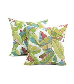 Greendale Home Fashions Set of Two Palm Leaves in Multicolor Outdoor Accent Pillows