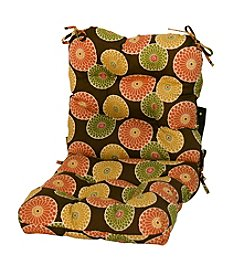Greendale Home Fashions Flower Chocolate Seat and Back Combo Cushion