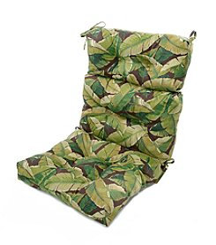 Greendale Home Fashions Palm Leaves in Green Outdoor High Back Chair Cushion