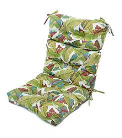 Greendale Home Fashions Palm Leaves in Multicolor Outdoor High Back Chair Cushion