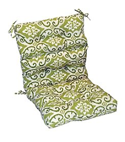 Greendale Home Fashions Green Ikat Outdoor High Back Chair Cushion