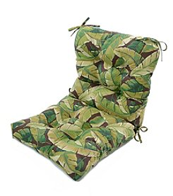 Greendale Home Fashions Palm Leaves in Green Outdoor Seat and Back Chair Cushion
