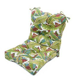 Greendale Home Fashions Palm Leaves in Multicolor Outdoor Seat and Back Chair Cushion