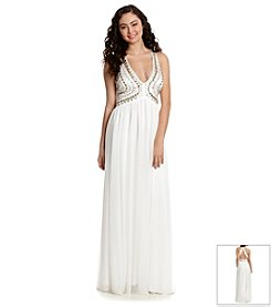 My Michelle® Gold Beaded Halter Gown