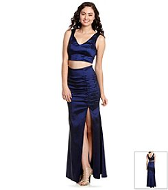 City Triangles® Two Piece Taffeta Mermaid Dress